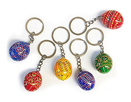6 Ukrainian Hand Painted Wooden Easter Eggs Pysanky Key Chains 1 1/4 ()