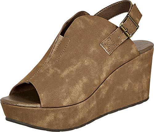 Cambridge Select Women's Open Toe Front V Cutout Stretch Slingback Chunky Platform Wedge Sandal,7.5 B(M) US,Taupe PU