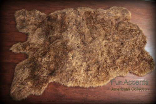 - Fur Accents Buffalo Rug Thick Faux Fur Pelt Rug Americana Collection Designer Area Carpet 5'x8'