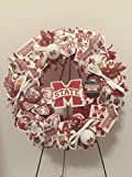 COLLEGE PRIDE - MSU -MISSISSIPPI STATE UNIVERSITY - BULLDOGS - DAWGS - DORM DECOR - DORM ROOM - COLLECTOR WREATH - MAROON DAHLIAS AND CHRYSANTHEMUMS