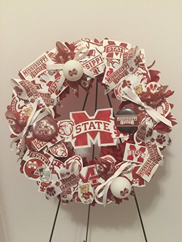 COLLEGE PRIDE - MSU -MISSISSIPPI STATE UNIVERSITY - BULLDOGS - DAWGS - DORM DECOR - DORM ROOM - COLLECTOR WREATH - MAROON DAHLIAS AND CHRYSANTHEMUMS by Peters Partners Design (Image #9)