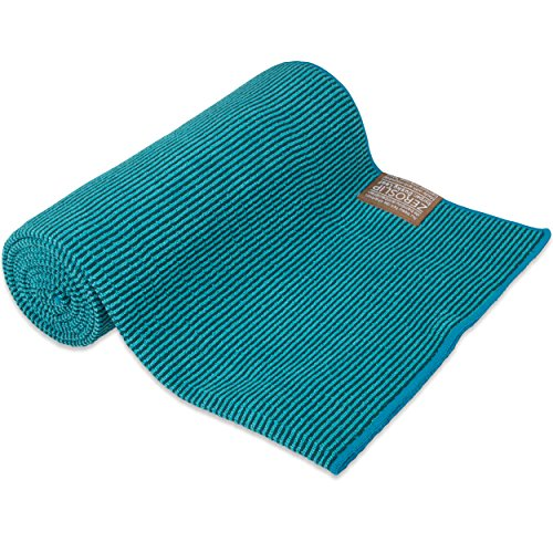 Dusky Leaf Zeroslip Hot Yoga Towel - Blue