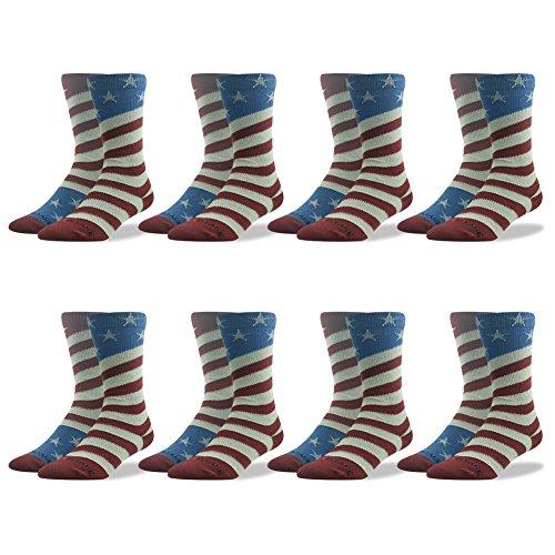 Novelty Gift Socks, Ristake Fashion Pattern Funky Print Old Glory American Flag Crew Dress Socks for Thanksgiving Christmas Basketball Football Softball Lacrosse Wedding Day Groomsmen 8 Pairs
