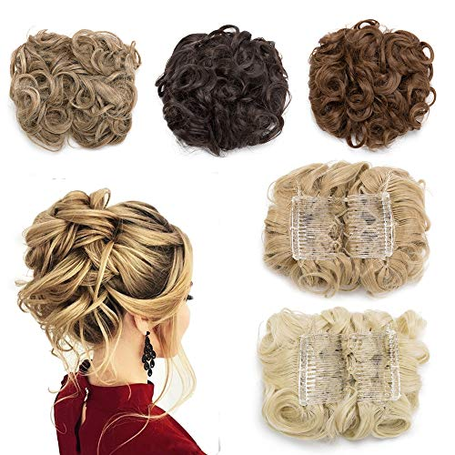 Messy Curly Combs Hair Bun Extensions Easy Stretch Hair Dish Chignon Clip in Updo Hairpiece Ponytail Scrunchy Accessory for Women Golden Blonde Mix Bleach - Stretch Clip