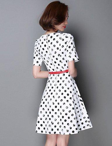 PU&PU Robe Aux femmes Trapèze / Patineuse Vintage / Street Chic,Points Polka Col Arrondi Mi-long Coton / Polyester , white-s , white-s