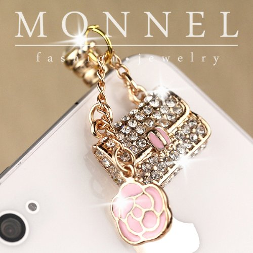 [IP564-B Luxury crystal Rose & Lady Handbag Purse Charm Anti-dust Dock Earphone Plug Stopper for Smart Phone iPhone] (Enamel Handbag Charm)