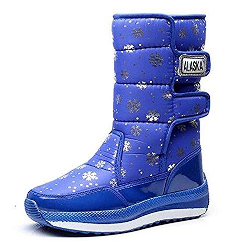 Chaussures Chaud Bleu Fourrure Femme De Antidérapant Neige Boots Hiver Imperméables Bottes Bottines Doublé HFO8wHq