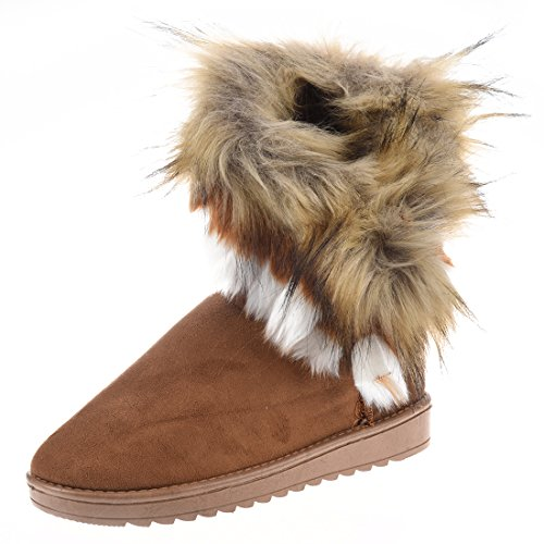 Tan Boots Snowshoes - SODIAL(R) Women's Fashion Artificial Fox Fur Warm Autumn Winter Snow Women Boots Shoes Lady Short Boots Casual Long Snow Shoes (Tan, EU40=US7.5)