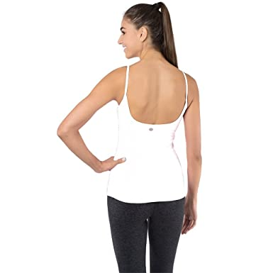 7092b22ef8ce3 FABB ACTIVEWEAR White Yoga Top with Built in Bra Women s Open Back Workout  Tank Tops Yoga