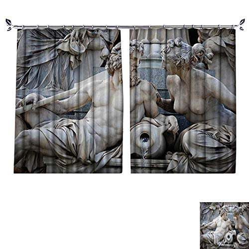(DESPKON Curtain Outer Curtain Male and Female Statues Athena Fountain in frt of The Building of Austrian Parliament Suitable for Living Room. W72 x L45)
