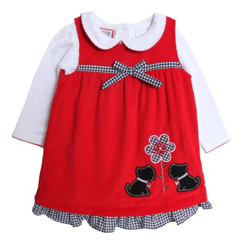NWT Baby Togs Girls 2 pc red cord jumper set