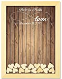 PotteLove Alternative Wedding Guest Book Wedding Decoration Rustic Sweet Wedding Guestbook 40x50 cm with 150pcs Small Wood Hearts