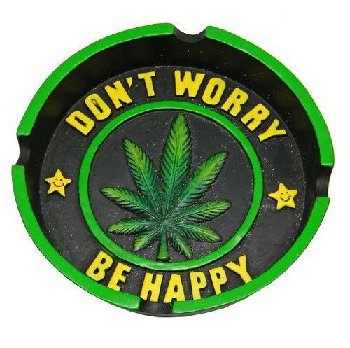 4.25' Don't Worry Be Happy Leaf Round Ashtray Hemptrays