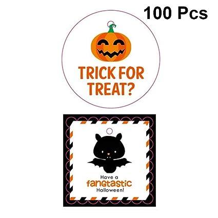 Hemoton 100pcs Halloween Cadeau Tag Bat Citrouille Modèle