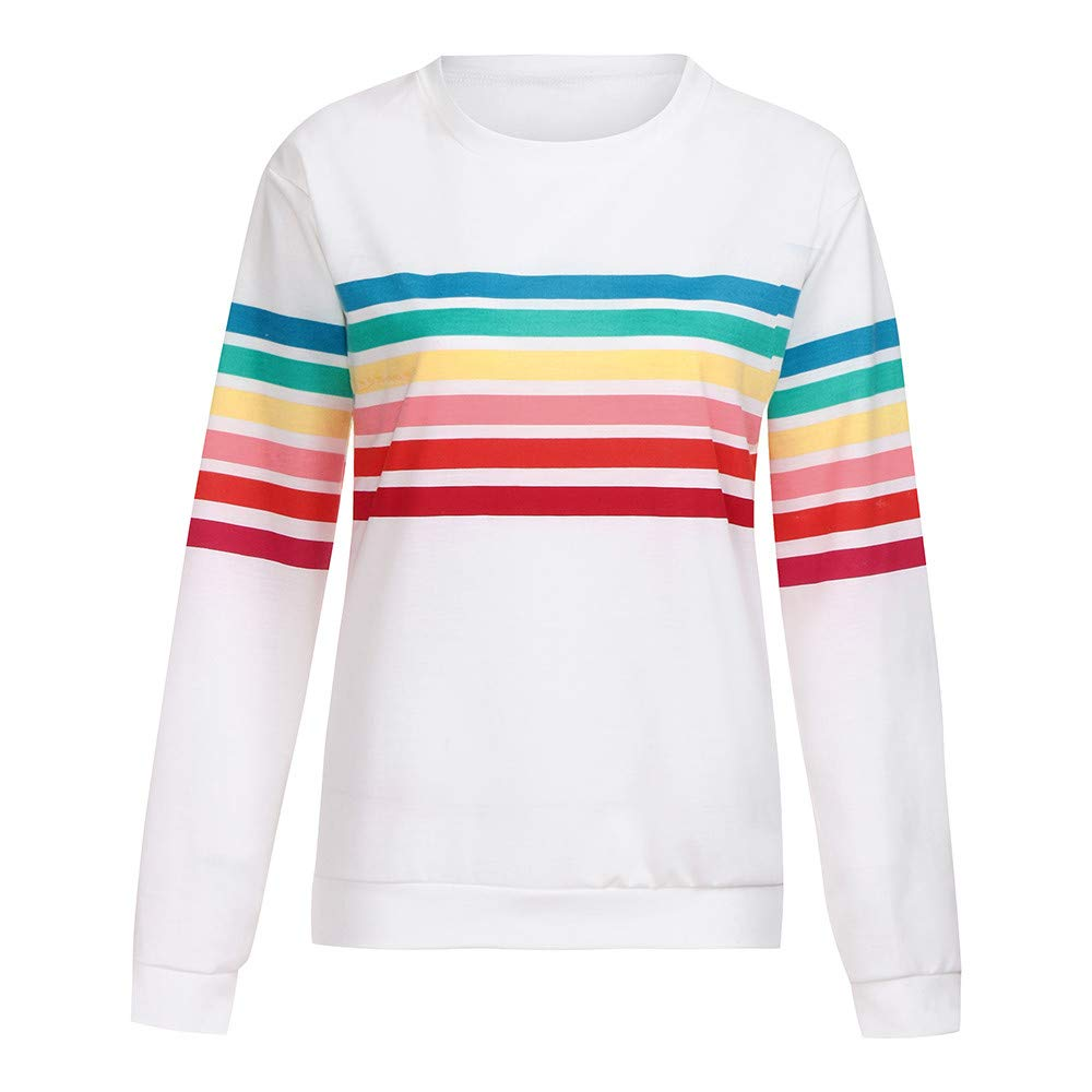 Rambling Womens Sweatshirt Pullover Striped Rainbow Color Long Sleeve Round Neck Casuel Blouse by Rambling (Image #3)