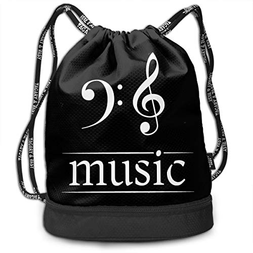 HFTIDBC Retro Bass Clef Musical Symbol Drawstring Backpack Cinch Sack