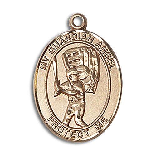 Bonyak Jewelry 14kt Yellow Gold Guardian Angel/Baseball Medal 1 x 3/4 inches
