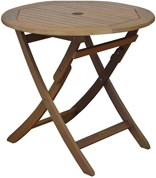 Proloisirs Table Ronde Pliante Look Teck: Amazon.fr: Jardin