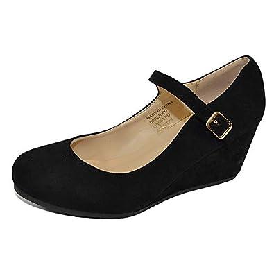 Amazon.com: HapHop Mary Jane zapatos de tacón medio con cuña ...