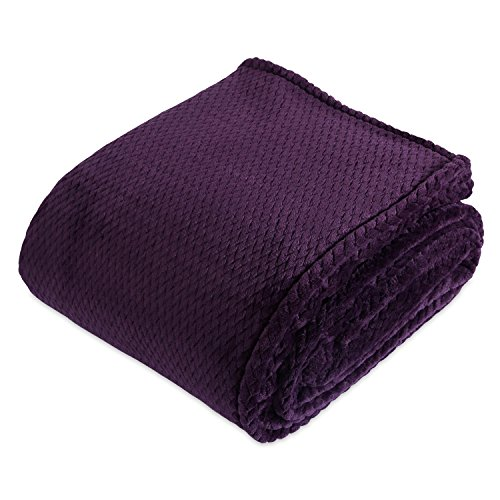 VelvetLoft Dimensional Braid Bed Blanket, King Majestic Purple