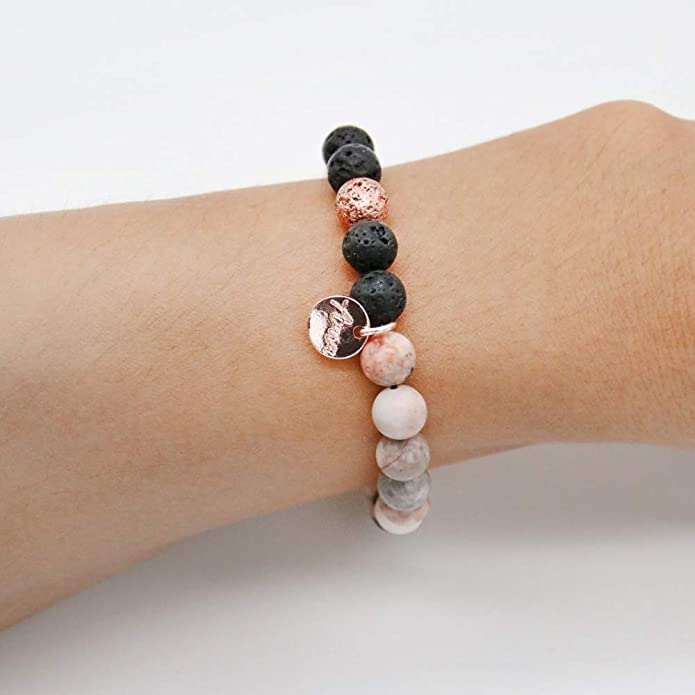 Natural Crystals Vegan Yoga Bead Bracelets Essential Oil Diffuser Bracelet OCEAN Gemstone Aromatherapy Bracelet Lava Rock #01AB-05-008