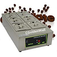 CGoldenWall 12kg Capacity 6 Tanks Commercial Electric Chocolate melter Chocolate melting machine Chocolate melting pot chocolate tempering machine Digital Chocolate Warmer 110V/220V CE