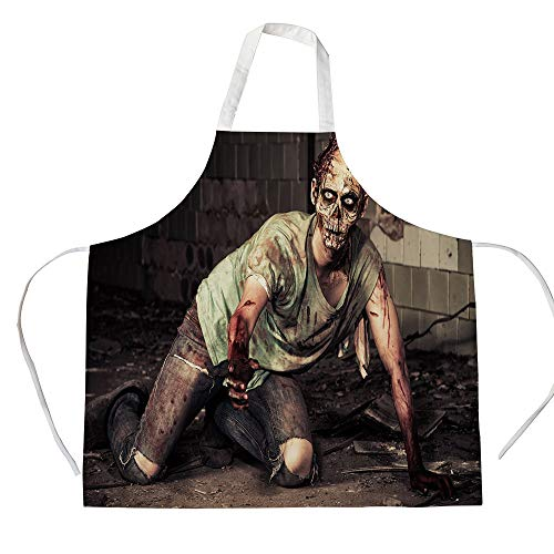 Zombie Decor 3D Printed Cotton Linen Apron,Halloween Scary Dead Man in Old Building with Bloody Head Nightmare Theme,for Cooking Baking Gardening,Grey Mint Peach