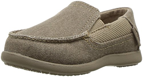 crocs Boys' Santa Cruz II PS Loafer, Khaki/Cobblestone, 12 M US Little Kid