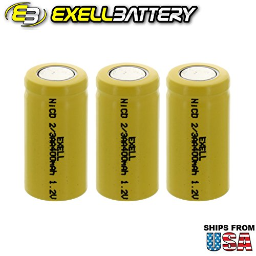 3x Exell 2/3AA 1.2V 400mAh NiCD Flat Top Rechargeable Batteries for high power static applications (Telecoms, UPS and Smart grid), electric mopeds, meters, radios, RC devices, electric tools