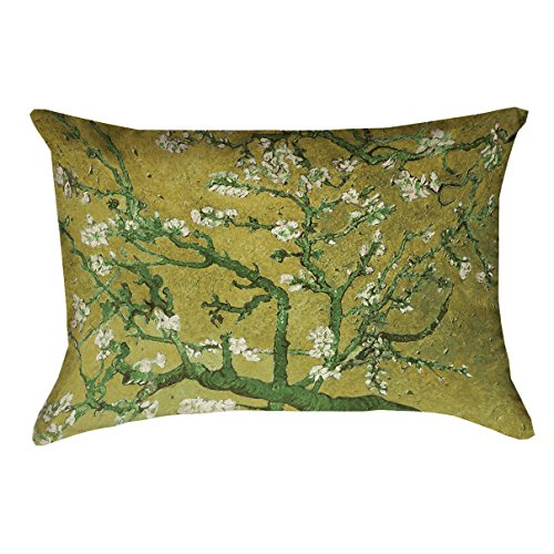 ArtVerse Vincent Van Gogh Almond Blossom in Yellow and Green x (Pillow Cover Only) Pillow-Spun Polyester Double Sided Print with Concealed Zipper, 14