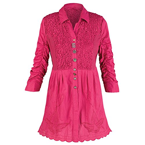 Women's Tunic Top - Poetic Buttons Pink Ruffled Shirt - 1X
