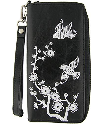 LAVISHY Love Birds Plum Blossom Flower Embossed Vegan/Faux Leather Large Wristlet Wallet Black