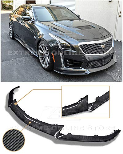 Extreme Online Store Replacement for 2016-Present Cadillac CTS-V Models | EOS Carbon Package Style Front Bumper Lower Lip Splitter (Carbon Fiber)