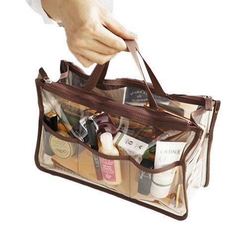 Gearmax Sac à main Sac à main en sac Organiseur Sac à maquillage Gadget Toiletry Travel Stationary Étui de rangement cosmétique avec Double Zipper Organizer Orange (Marron)