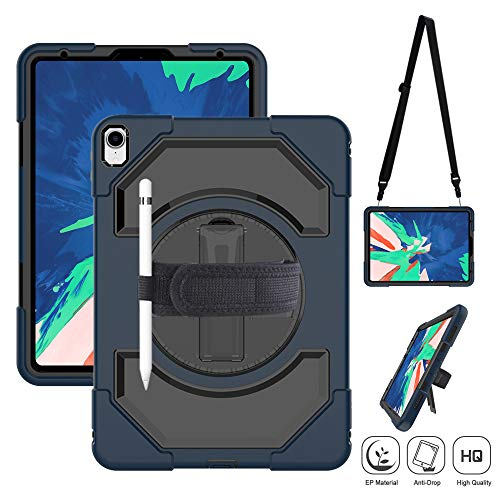 iPad Pro 11 Case with Pencil Holder, Heavy Duty Drop Resistant Protective Handle Case with 360 Degree Swivel Stand, Adjustable Hand Strap, Shoulder Strap for iPad Pro 11 inch 2018 (Black+Navy Blue)