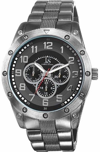 Joshua & Sons Men's JS47BK Gray Multifunction Quartz Watch with Gray Dial and Gray Bracelet