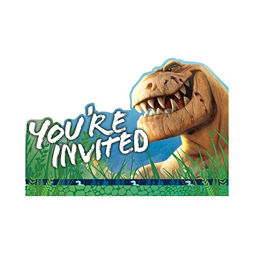Amscan Disney The Good Dinosaur Birthday Party Invitations Cards Supply (8 Pack), 4 1/4