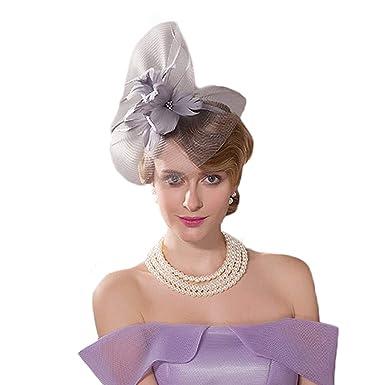cd21c456 Women Wedding Fascinator Pillbox Hats for Women with Veils British Fedora  Ladies Floral Party Church Cocktail