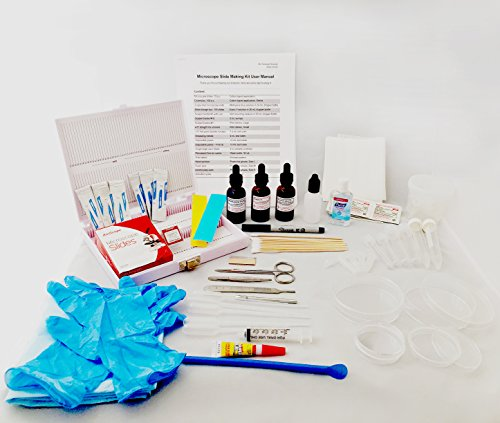 Microscope Slide Accessory Kit - Premium Set to Make Your Slides - Including Glass Slides, Coverslips, Dissection Tools, Stains (Methylene Blue & Eosin Y), Test Tubes, Dishes, Gloves, and Many More