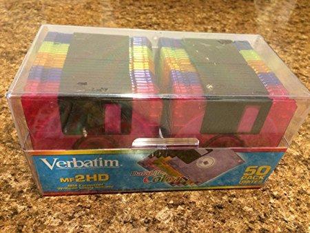 "Verbatim DataLife Colors 3.5"" 1.44 MB IBM Formatted HD Computer Disks 50 Pack"