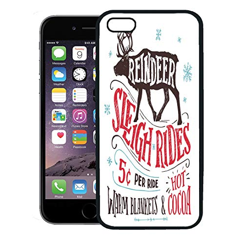 (Semtomn Phone Case for iPhone 8 Plus case,Old Fashioned Reindeer Sleigh Rides Signboard Hand Lettering Sign Vintage The Silhouette of Winter iPhone 7 Plus case Cover,Black)