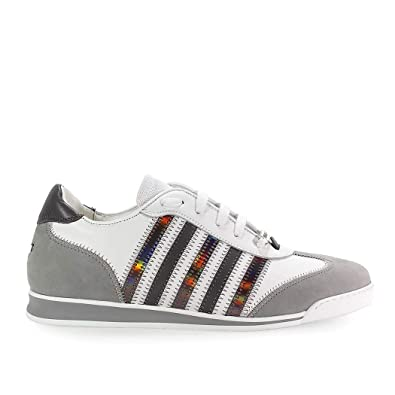 Dsquared2 Hombre SNM04190651481M182 Blanco Cuero Zapatillas: Amazon.es: Zapatos y complementos