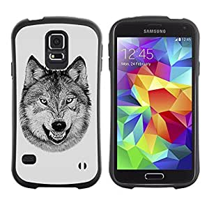 Hybrid Anti-Shock Bumper Case for Samsung Galaxy S5 / Black & White Laughing Wolf