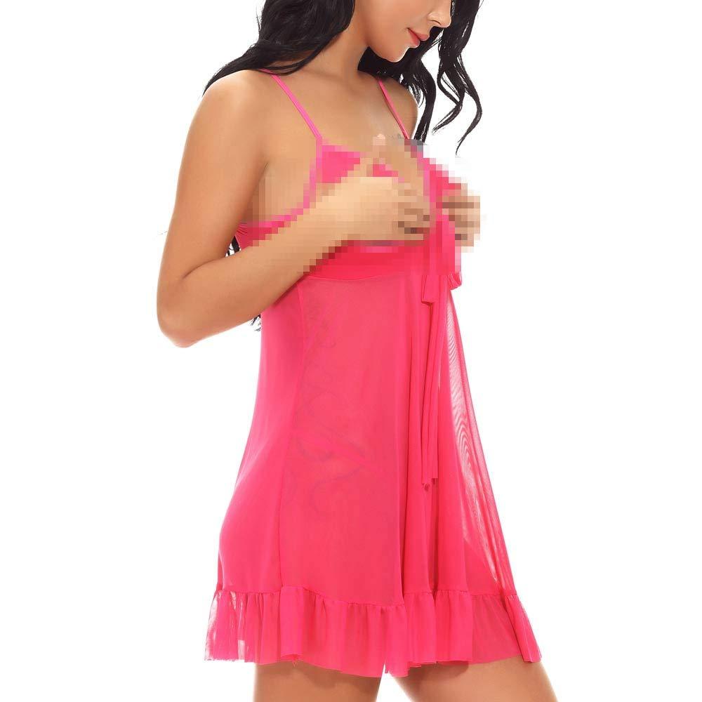 Fashion Women Mini Sleepskirt Girl Sexy Lingerie G-String Underwear Sleepwear (S, Hot Pink)