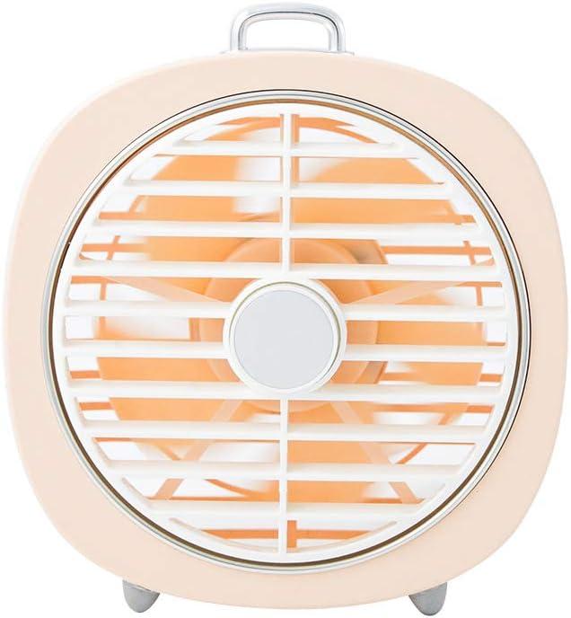 MIMI KING Mini Ventilador de Escritorio USB portátil, pequeño Ventilador Personal con 2 Modos de luz Nocturna, 3 velocidades de Viento, 180 ° de rotación, diseño de Silencio, Carcasa extraíble,Pink