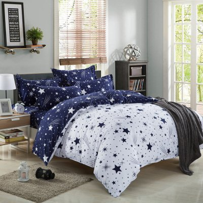 Kids Cotton Blend Star Twin Size Bedding Sheets Set Bed Pillowcase Bedding Duvet Cover Set
