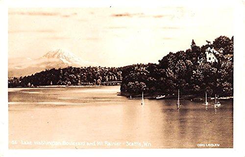 (Lake Washington Boulevard and Mount Rainier Seattle, Washington postcard)