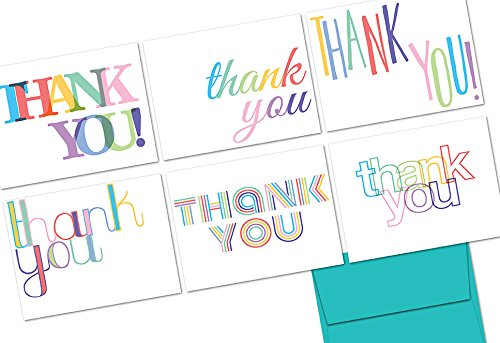 Rainbow Thank You - 36 Note Cards - 6 Designs - Aqua Blue Envelopes Included ()