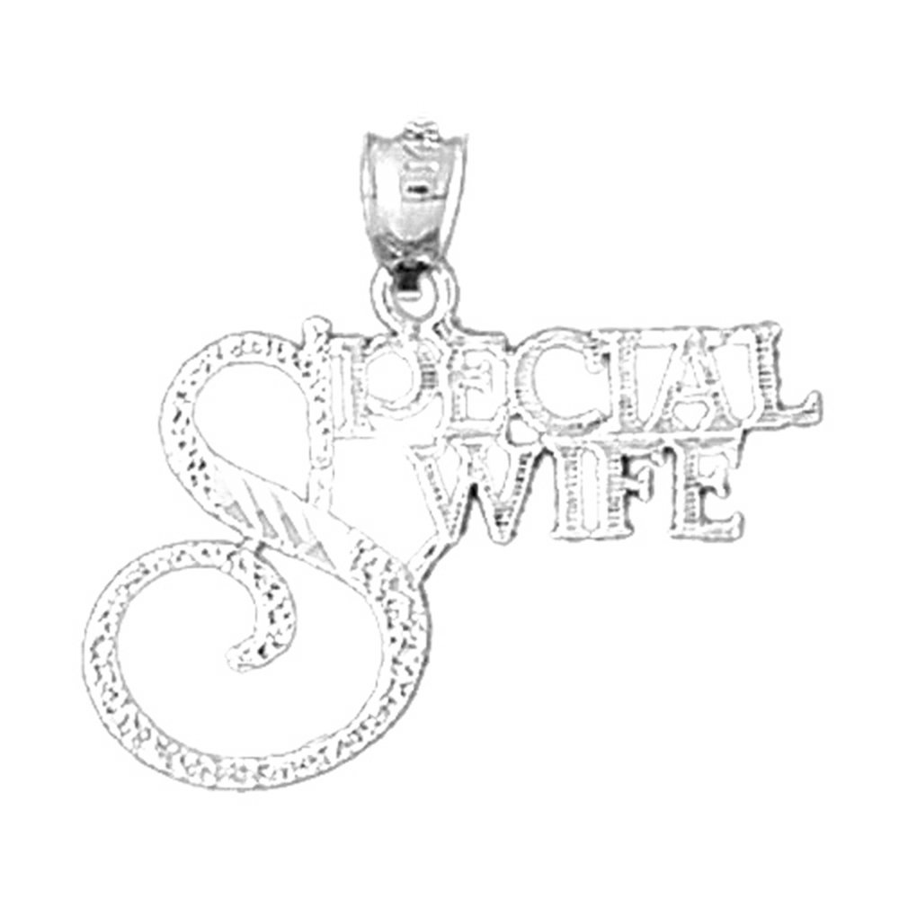 Jewels Obsession Special Wife Necklace Rhodium-plated 925 Silver Special Wife Pendant with 18 Necklace