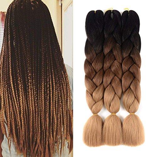 Urqueen Ombre Kanekalon Braiding Hair 3pcs/lot Synthetic Hair Extensions Two Tone Braiding Hair 100g/pcs Kanekalon Fiber For Twist Braiding Hair (Dark-Dark Brown-Light Brown)